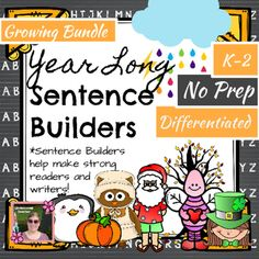 This resource is a GROWING Bundle! This resource helps students work on sentence structure, capitalization, punctuation, parts of speech, and more! My Kindergarten and 1st grade students love working on sentence builders at their Daily 5 stations or Word Work stations or centers!