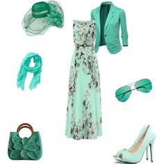 Green Gal by writergurl-1 on Polyvore featuring Eliza J, J.TOMSON, AX Paris, Mar y Sol, Aéropostale and Ray-Ban