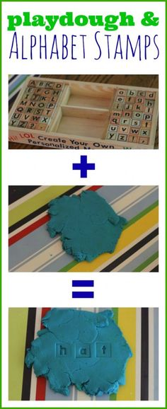 Playdough and Alphabet Stamps ~ Toddlers can play with the letter stamps in playdough to gain experience with what letters look like.