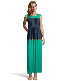 BCBGMAXAZRIA emerald stretch 'Whinnie' pleated sleeveless dress