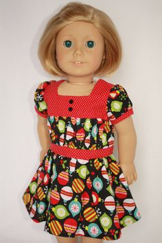 "American Girl 18"" Doll Christmas Dress on Etsy, $20.00"