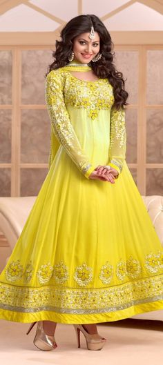 413787: This summer wear the SUNSHINE. anarkali wedding womenswear yellow