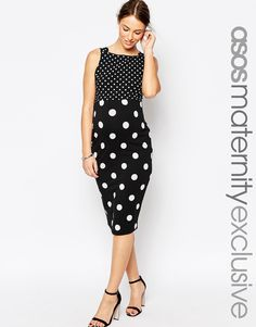 ASOS Maternity Bodycon Dress With Square Neck In Mixed Spot Print