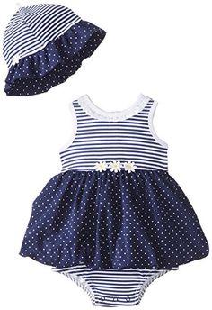 6cc0d0b93cf Little Me Baby-Girls Newborn Daisy Dots Popover Dress and Hat