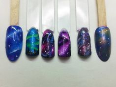 Northern Lights swatches as requested by client  #nailswatches #nailart #northernlights #auroraborealis #pigments #colourshack #galaxynails