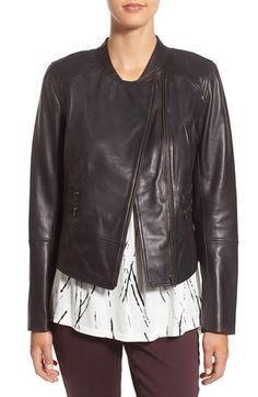 Halogen® Leather Moto Jacket