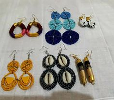 Boho style /Beaded Statement Earrings / Beads Earrings / Statement Jewelry / Fashion Earrings / 6 pairs earrings / Summer Statement Earrings