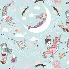 Mermaid Lullaby (sea foam) SMALL fabric by nouveau_bohemian on Spoonflower - custom fabric