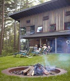 Jill Neubauer Massachusetts Cabin - Rustic Decorating Ideas Outdoor Spaces, Outdoor Living, Outdoor Decor, Outdoor Fire, Outdoor Stuff, Coastal Decor, Rustic Decor, Massachusetts, Exterior Stairs