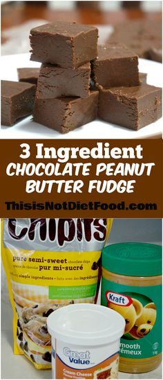 3 Ingredient Chocolate Peanut Butter Fudge. Super easy fudge recipe using chocolate chips, peanut butter and cream cheese frosting.