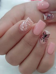 French Acrylic Nails, Summer Acrylic Nails, Best Acrylic Nails, Really Cute Nails, Pretty Nails, Hot Nails, Pink Nails, Fancy Nail Art, Cute Nail Colors