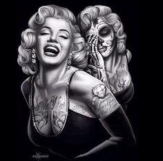 Smile Now By David Gonzales Art Canvas Giclee Marilyn Monroe retro pinup pin up tattoo tattooed sugar skull day of the dead skeleton bones rockabilly urban chicano mexican Marilyn Monroe Tattoo, Marilyn Monroe Kunst, Marilyn Monroe Artwork, Marylin Monroe, Los Muertos Tattoo, Jimi Hendricks, Pin Up, Totenkopf Tattoos, Day Of The Dead Art