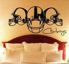 3 Helmet Football Vinyl Wall Decal by VinylOnTheGo on Etsy, $35.00