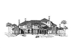 Home plan number 20688 is a three story, Tuscan style home with a total square footage of 9,504. There are 5 bedrooms and 7 bathrooms, along with a split entry, front loading, 4 car garage. The master bedroom includes a sitting area, and fireplace. Plan number 20688 has a covered pavillion, side porch, front porch, rear porch, and terrace. There are also interior and exterior balconies. Special features include a breezeway, cabana bath, entry courtyard, light tower, observation room, outdoor…
