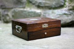 Wooden Flatware Chest w Silver Diamond by NorthMajestyTrail