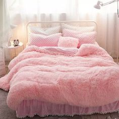 Winter Soft And Warm Pink Thick Plush Mink Wool Bed Skirt Fluffy Bedding Sets