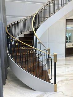 Staircase Interior Design, Staircase Railing Design, Interior Stair Railing, Architecture Design, House Staircase, Balcony Railing Design, Iron Staircase, Wrought Iron Stairs, Home Stairs Design
