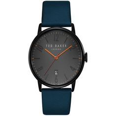 Ted Baker London Daniel Stainless Steel Leather Strap Watch (265 BRL) ❤ liked on Polyvore featuring men's fashion, men's jewelry, men's watches, mens leather strap watches, mens watches, men's analog digital watch, mens analog watches and ted baker mens watches