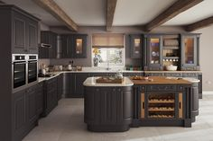See our range of Grey Kitchens & kitchen units. All of our Grey Kitchens & kitchen units are available at trade prices. New Kitchen Cabinets, Kitchen Units, Painting Kitchen Cabinets, Kitchen Layout, Lemon Kitchen Decor, Home Decor Kitchen, Kitchen Interior, Kitchen Ideas, Kitchen Window Coverings