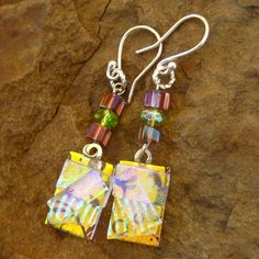 Gold Fused Glass Earrings Dichroic Fused Glass Drop by GlassCat, $22.00