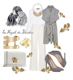 """""""Gold and White Hijab Outfit"""" by le-hijab-de-doudou ❤ liked on Polyvore featuring MANGO, Topshop, French Connection, River Island, Versace, Isabel Marant, BCBGMAXAZRIA and Sole Society"""