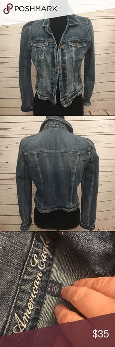 American eagle outfitters distressed jean jacket American eagle distressed jean jacket in very good condition. Size medium. 16 arm to arm and 19 shoulder to hem. Perfect for amy outfit. American Eagle Outfitters Jackets & Coats Jean Jackets