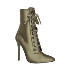 Cassie Khaki Satin Lace Up Pointed Ankle Boots : Simmi Shoes ($9.20) ❤ liked on Polyvore featuring shoes, boots, ankle booties, lace up ankle boots, ankle boots, pointed ankle booties, bootie boots and lace up boots
