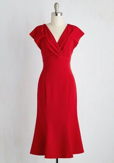 Mighty Marvelous Dress. Your look is really something special with this red midi dress as its defining feature! #red #modcloth