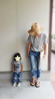 グレーTシャツとデニムで娘とリンクコーデ! の画像 3児ママsayaのプチプラコーデ♪ママコーデのONとOFF♪
