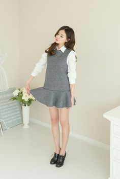 Fleece Sleeveless Flare Dress