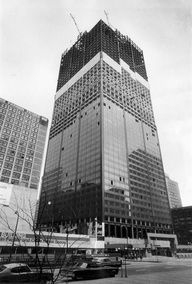 View from Wacker Drive of the Sears Tower under construction in 1972.
