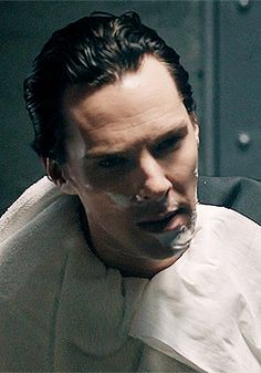 Sherlock, your Khan is showing <--- EXACTLY what I thought, with his hair all slicked back.  SO HAWT.