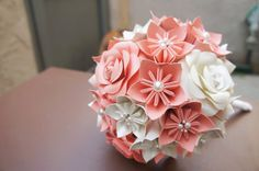 Custom Wedding Kusudama Origami Paper Flower Package - Bouquets, Bridesmaid Bouquet- Coral, Ivory