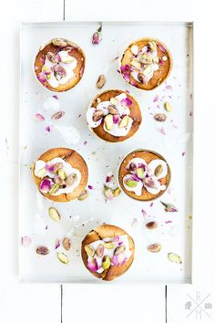 lemon cream cheese muffins with pistachio & rose petals