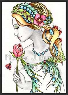 Fairy Tangle by Norma Burnell Fairy Coloring, Doodle Coloring, Fantasy Paintings, Fantasy Art, Firefly Art, Alphonse Mucha Art, Art Trading Cards, Beautiful Fairies, Zen Art