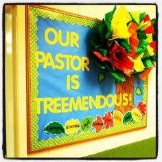 Pastor Appreciation Bulletin Board: tissue paper tree