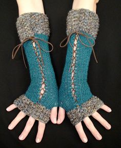 Fingerless Gloves, Long Corset Arm Warmers Handknit in Dark Turquoise/ Blue Victorian Style, $37.00