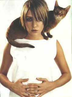 Vintage Chloe Sevigny. Oh yeah and a cat. In Vogue Italia.