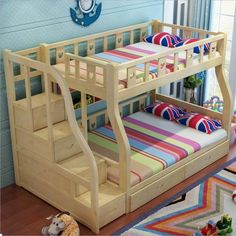 bed for boys on sale at reasonable prices, buy Webetop Kids Beds For Boys And Girls Bedroom Furniture Castle Bunk Bed Children's Twins Double Single Loft Bed from mobile site on Aliexpress Now! Kids Beds For Boys, Bunk Beds For Girls Room, Loft Bunk Beds, Girls Bedroom Furniture, Bunk Beds With Stairs, Kid Beds, Kids Bedroom, Bedroom Ideas, Children Furniture