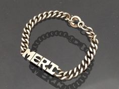 Vintage Sterling Silver Letter MERI Link Chain Bracelet 7'' Length by wandajewelry2013 on Etsy