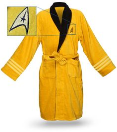 Star Trek bathrobe. Available in Kirk, Spock, Scotty, or Uhura.