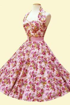 1950s Retro Jurken - halter China Rose pink swing dress