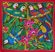 """Large size bird mola """"Tropical Beauty"""". Entirely handstitched by the Kuna Indians of Panama. http://www.worldtravelart.com/Large_Panama_Mola_Tropical_Beauty_p/001544.htm"""