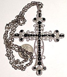 """Huge 4.5"""" Large Silver Black Rhinestone Cross Necklace Heavy chain (Image1)This extra Large cross features black stones in an ornate silver tone setting and wide open link chain.  The cross is: 4.1/2 long, 3.1/4 wide. The chain is 26 inches"""