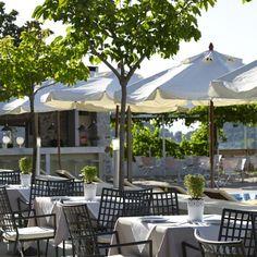 """Indulge in fine Greek and Mediterranean cuisine"" Atrium Hotel Skiathos, Fine Dining, Natural Stones, Greek, Lounge, Patio, Outdoor Decor, Design, Home Decor"