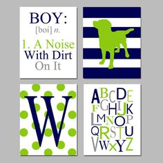Boy Nursery Art - BOY Definition - A Noise With Dirt, Striped Puppy Dog, Initial, Alphabet - Set of Four Prints - Choose Your Colors Puppy Nursery, Nursery Art, Nursery Decor, Nursery Ideas, Room Ideas, Room Decor, Baby Boy Rooms, Baby Boy Nurseries, Kids Rooms