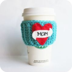Mom heart love travel mug coffee tea cozy by KnotworkShop on Etsy, $17.00