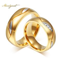 Cubic Zirconia Wedding Ring Gold Plated Stainless Steel
