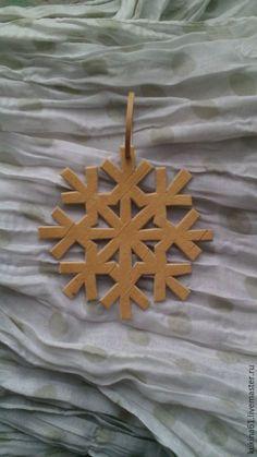 Купить снежинка №10 - бежевый, снежинки, елочные игрушки, елочные украшения, елочная игрушка