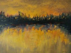 ARTFINDER: Shining by Sandra Gotautaite - This abstract landscape painting were inspired by Lithuanian forests early in the morning. While sun is rising it seems that forest comes on fire. The unforg...
